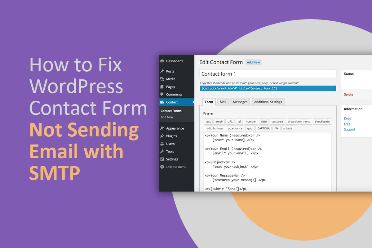 How to Fix WordPress Contact Form Not Sending Email with SMTP
