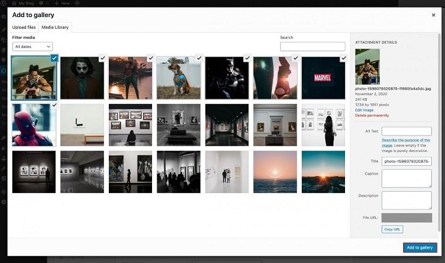 Modula upload your images