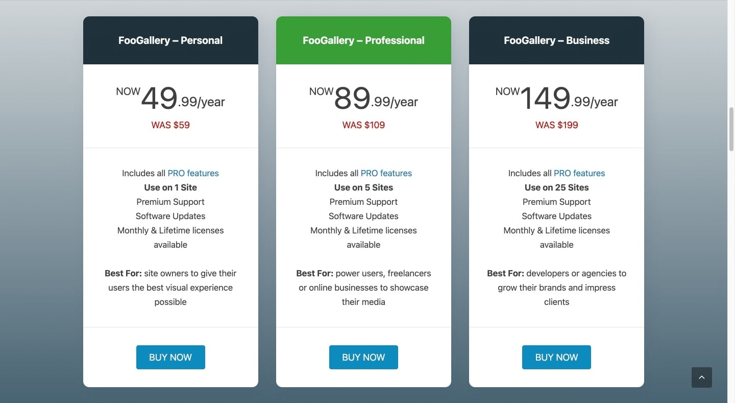 FooGallery pricing