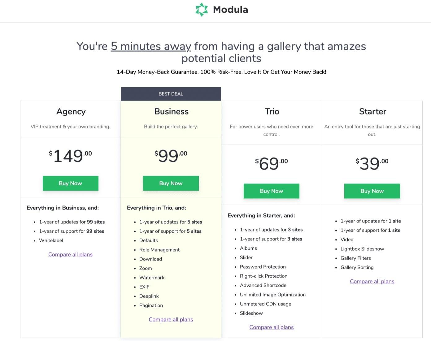 Modula pricing